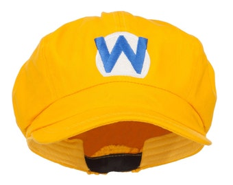 Wario Waluigi Embroidered Cotton Newsboy Cap - Yellow