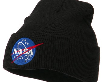 NASA Insignia Embroidered Long Beanie Hat