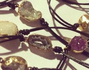 Druzy gold dipped geode slice crystal bracelet -geode slice