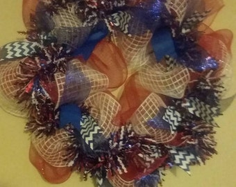 Patriotic Wreath perfect for Memorial day, July 4th and Labor Day!