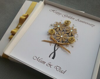 Golden 50th Wedding Anniversary Congratulations Card Handmade Personalised Keepsake Parents Grandparents Friends Box Envelope