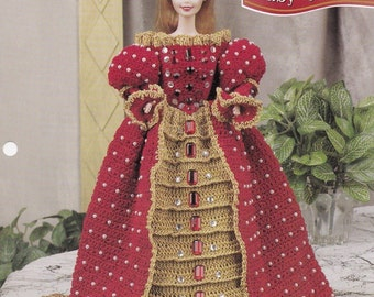 Ruby Queen, Annie's Attic Fashion Doll Clothes Crochet Pattern Club Leaflet FC43-02 HTF OOP