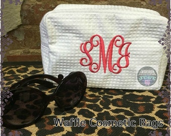 Personalized Waffle Cosmetic Bag,HTV Glitter Vinyl or embroidered,Monogram or name,Wedding Gift Bride,Flower Girl or Bridesmaids Gifts.