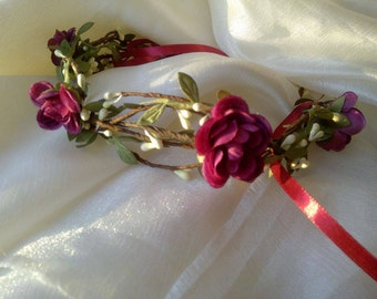 Flower сrown, wedding accessory, Flower Adornment, Bridal Headpiece, Wedding headpiece, holiday crown, christmas crown, red