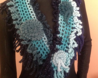 Elegant Rose Scarf/Dazzling Scarf/Crochet Scarf/Sculptured Scarf/Gift For Her/Mother's Day Gift