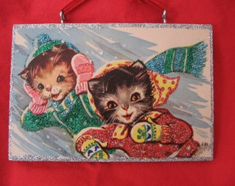 """Vintage Christmas Ornament -""""kittens in snow storm"""""""