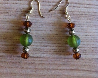 Green, brown, gold dangling earrings
