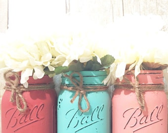 Set of 3 Hand Painted and Distressed Mason Jars, Coral, Housewarming Gift, Centerpieces, Wedding Decor, Beach, Rustic Decor, Fall, Teacher