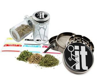 "It - 2.5"" Zinc Alloy Grinder & 75ml Locking Top Glass Jar Combo Gift Set Item # G50-7915-5"