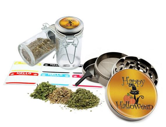 "Happy Halloween - 2.5"" Zinc Alloy Grinder & 75ml Locking Top Glass Jar Combo Gift Set Item # G022015-030"