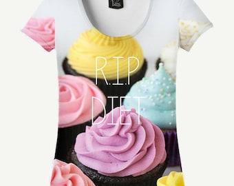 R.I.P. Diet T-shirt, R.I.P. Diet Shirt, Cake T-shirt, Cake Shirt, Cupcake T-shirt, Cupcake Shirt, Women's T-shirt, Women's Shirt