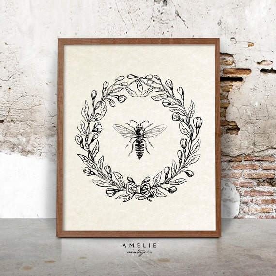 Rustic French Wall Decor : Bee print farmhouse printable french country decor rustic
