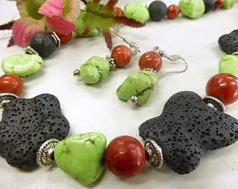 Colorful precious set with lava and coral