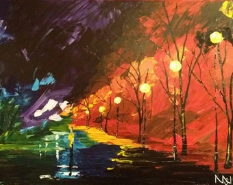 Acrylic Painting, Midnight Walk