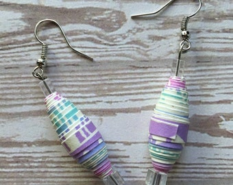 Purple/Multicolored Paper Bead Earrings