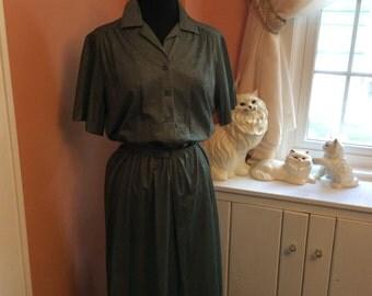 Vintage 70s Secretary Dress - Hunter Green (A757)