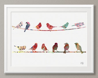 Birds on a line Art print