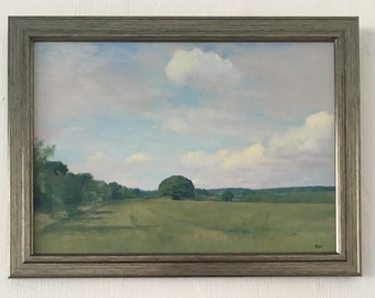 Fields at Brimstage, Wirral - An original oil painting by Stuart Irwin