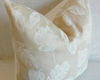 Ivory tone on tone pillow cover, neutral pillow, neutral leaf pattern pillow, tones on tones neutral pillow, ivory pillow, neutral decor