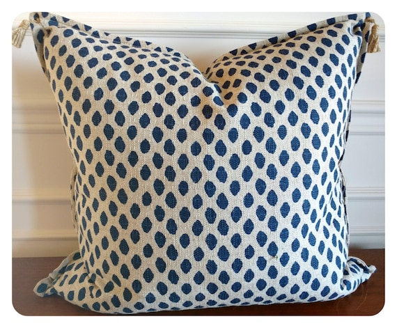 Navy blue and Sand beige throw pillow Navy by CoussinsElegance