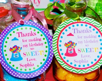 Candyland Birthday Thank you tag or Favor tag personalized, Candyland birthday party decorations, sweet shoppe birthday, Printable tags