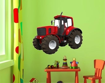 Tractor Wall Decal   Red Tractor Wall Decal   John Deere Tractor Wall Decal    John