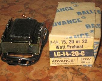 Vintage NOS Advance Ballasts 1-14, 15, 20, 22 Watt Preheat Ballast LC-14-20-C!#Bv