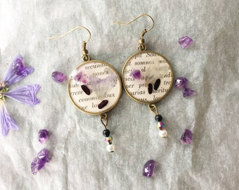 earrings with flowers, rice and Amethyst-botanical-romantic-retro