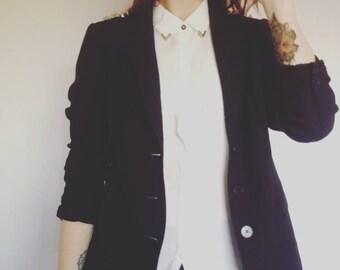 Vintage black jacket + handmade design spikes