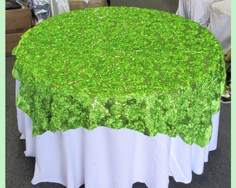 Ribbon & Sequin 4083 Table Overlay 50 X 50 Inches Square Lime