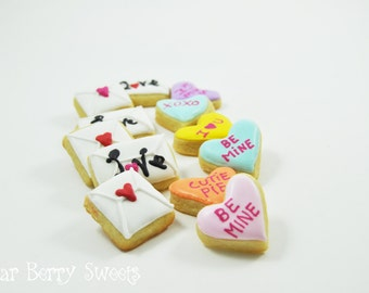 Mini Valentine Sugar Cookies -  Cute decorated sugar cookies - Tiny Conversation Hearts and Love Letters - Valentine's Gift for him or her
