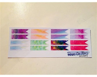 Watercolor page flags (set of 12)