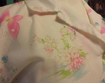 50s Butterfly Print Button Down with Cuffed Sleeves 50s 60s Neon Pink