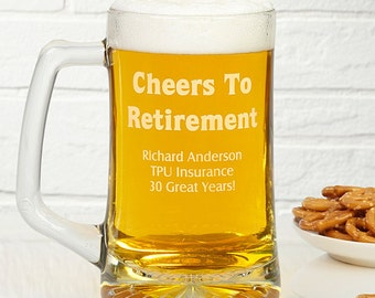 Cheers To Retirement 28 oz. Engraved Beer Mug (Or any occasion)