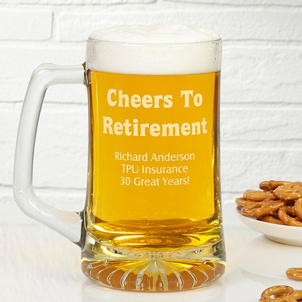 Cheers To Retirement 28 oz. Engraved Beer Mug Or any