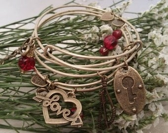"""ON SALE NOW!-Valentine's Day """"Key to My Heart"""" 3 piece bangle set-Expandable Stacking Bangles-One of a Kind"""