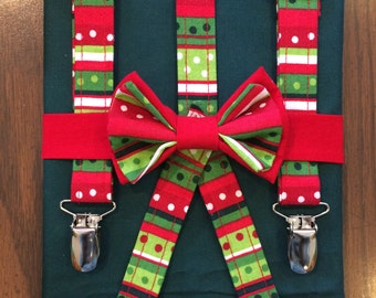 Christmas bow tie and suspenders set