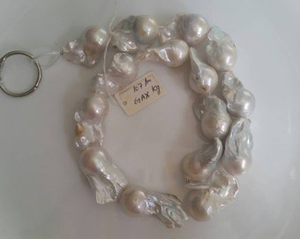 "FRESH WATER Pearl Baroque Shape , White pearl Nugget shape . Length 16"" , Size 16X27MM, Natural Pear Necklace, Good Quality Pearl"