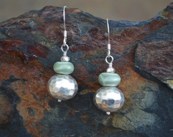 Handmade Sterling Silver Earrings with a Hammered Bali Bead and a Green lampwork Bead