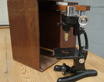 Vintage original Beck of London metal binocular microscope Binomax 9663 in fitted case accessory