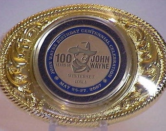 John Wayne 100th Birthday Deluxe Belt Buckle 24Kt. GOLD Plated, New in The Box!