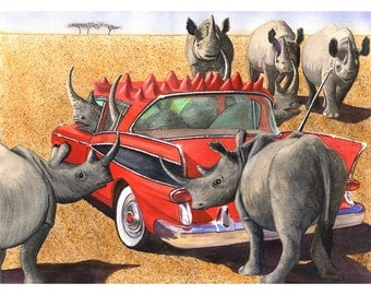 "Art card- ""Rhinos in a Red Rambler"""