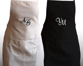 Adult Set of 2 Personalized Embroidered Monogram Aprons - Color: White, Black