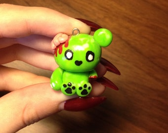 Polymer Clay Zombie Bear Pendant