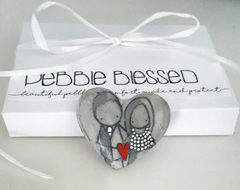Special wedding favours - wishing stones - guest book stones - alternative stone guest book - wedding pebbles - wedding pebble art - RD010