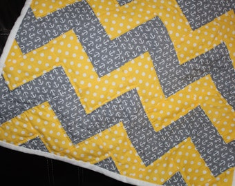 Gray Yellow Baby Blanket Quilt, Handquilted Anchor polka dot Crib Blanket, Beautiful Baby Blanket