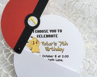 10 Pokemon Birthday Invitations, Pokemon Party, Pokeball invitation, Pokemon inspired invitation, Pikachu invitation