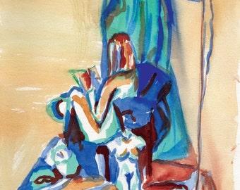 "ON SALE Original Watercolor Figure Painting ""Woman Reading"""
