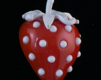 Vintage Crown Trifari Lucite Red Strawberry Brooch