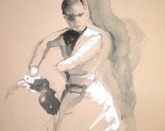 Flamenco dancer, drawing , watercolor, pastel